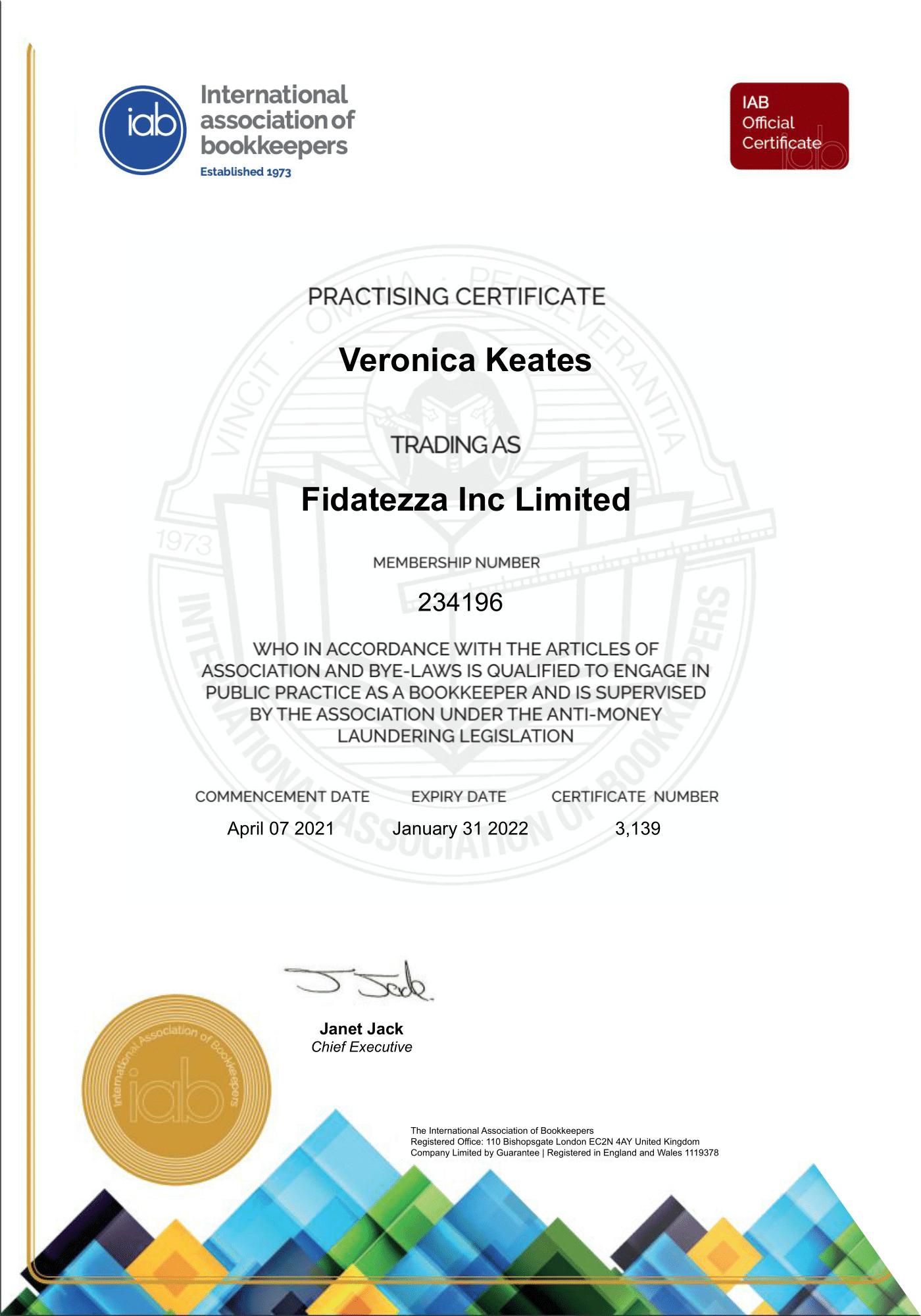 Fidatezza Inc Limited AML Certificate