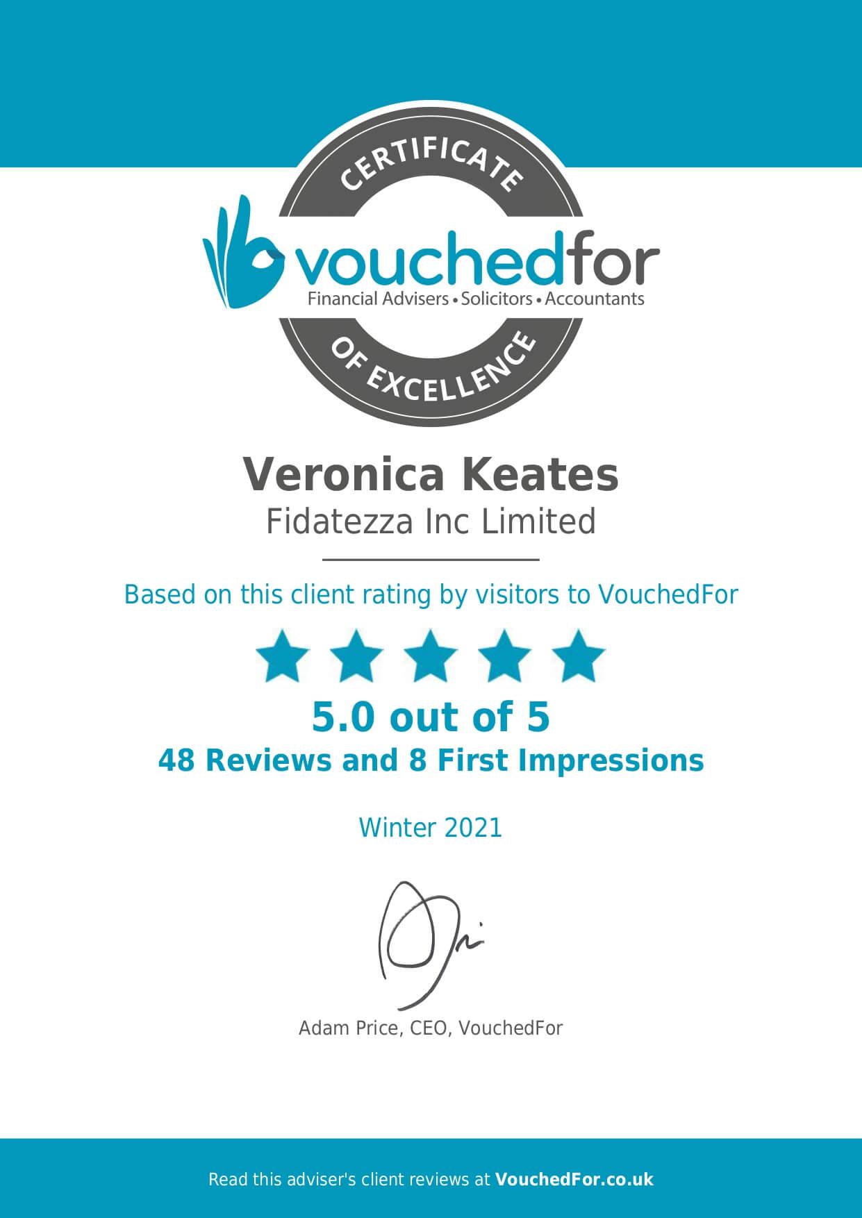 Vouched for Fidatezza Сертификаты
